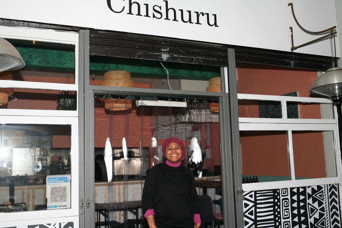 Adejoké Bakare, outside Chishuru, her restaurant in Brixton, south London which is currently closed due to the coronavirus lockdown in England