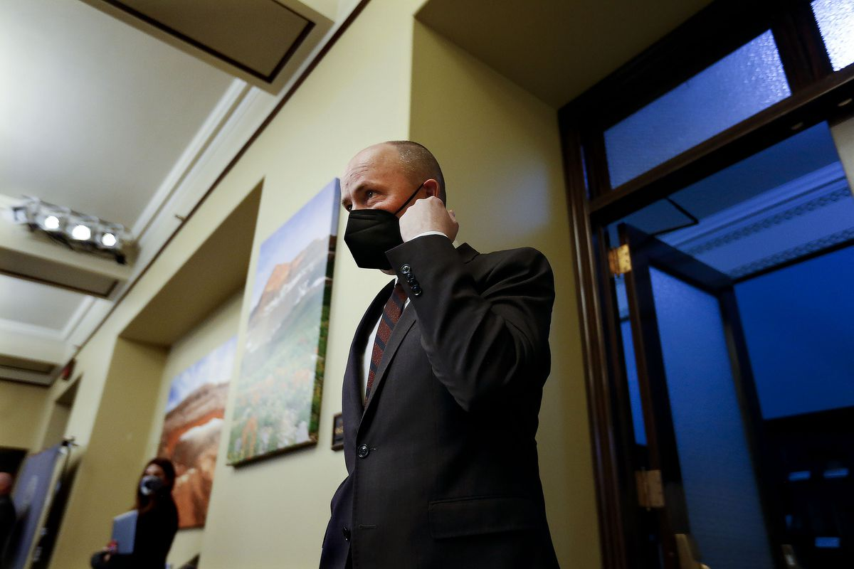 Gov. Spencer Cox arrives for a weekly briefing on COVID-19 at the Capitol in Salt Lake City.