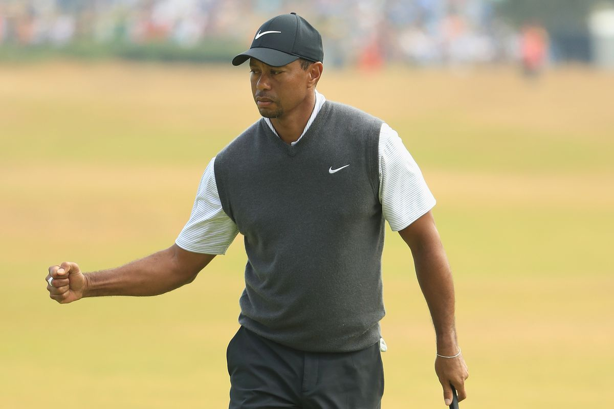 tiger woods is leading the british open  this is not a drill