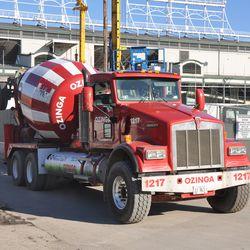 Concrete truck at the job site -