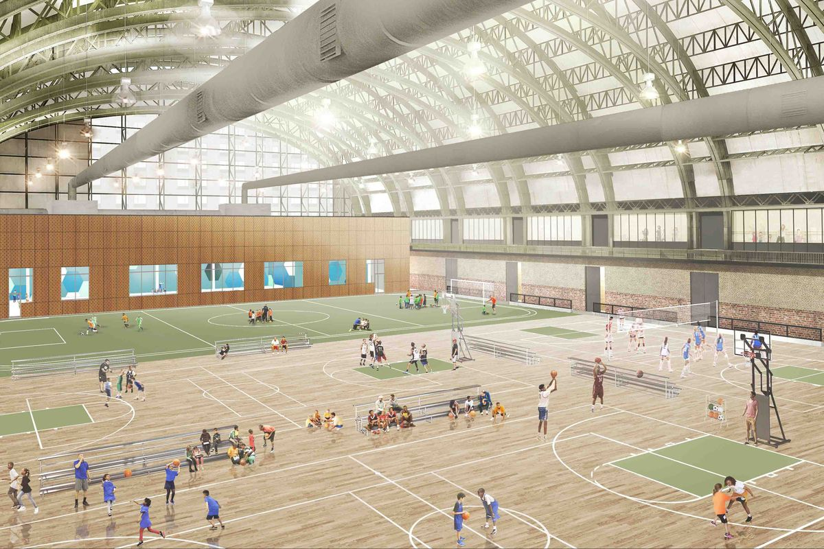 A rendering of the Bedford Union Armory's redesigned recreation area.