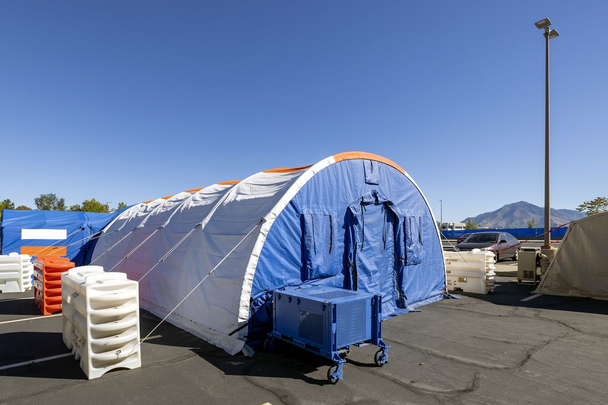A tent set up by the Utah Department of Health to administer monoclonal antibody treatments to COVID-19 patients is pictured at the Intermountain Healthcare Employee Services Center in Murray on Tuesday, Sept. 21, 2021.
