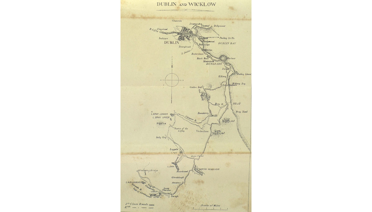 A map of Bulfin's ride in Dublin and Wicklow, along a route still worth repeating today, taking in the Scalp, Enniskerry, Glencree, Lough Bray, Sally Gap, and Luggala.