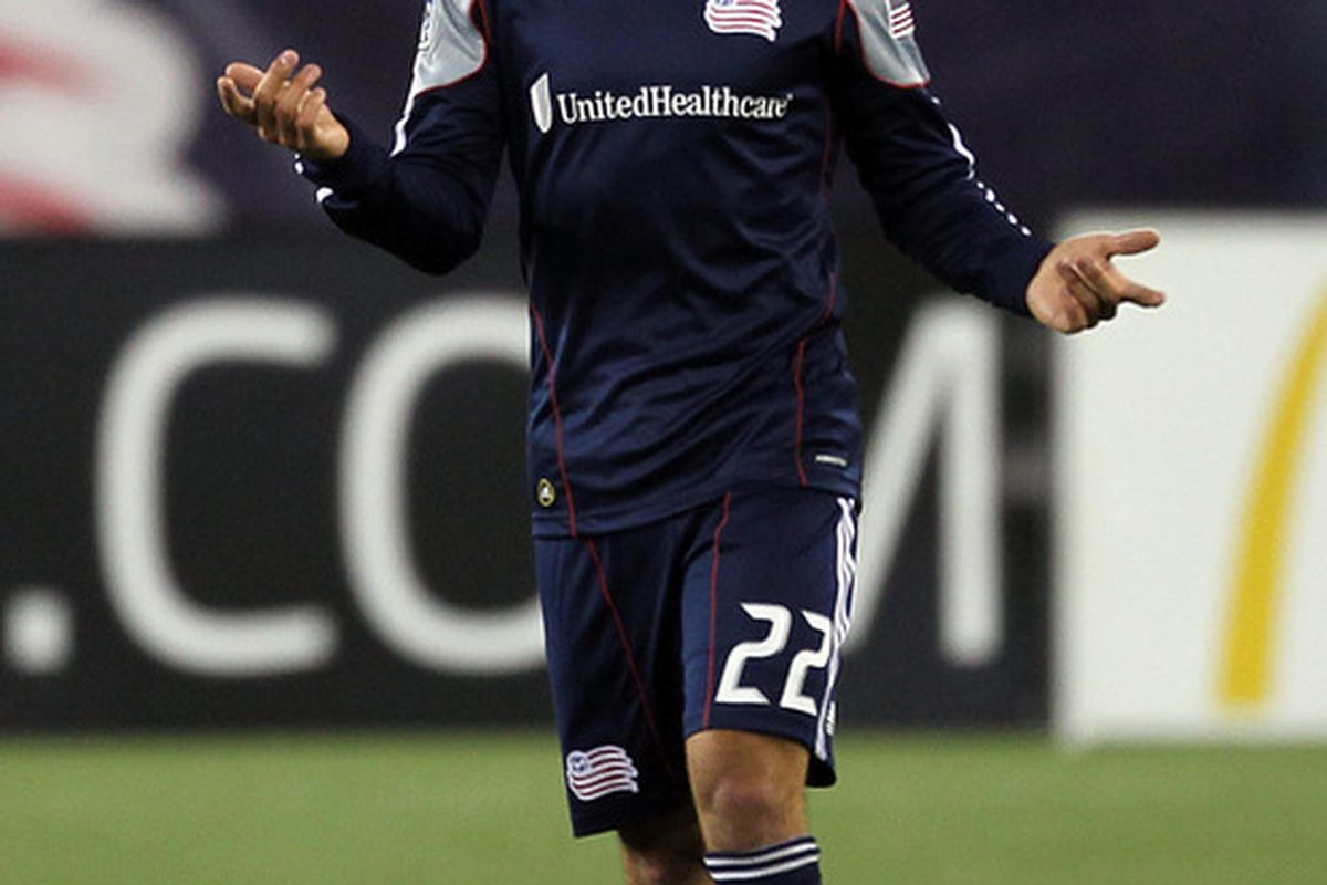 FOXBORO, MA - MAY 7: Benny Feilhaber #22 of New England Revolution reacts to an official's call during a game against the Colorado Rapids at Gillette Stadium on May 7, 2011 in Foxboro, Massachusetts. (Photo by Jim Rogash/Getty Images)