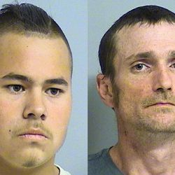 This photo combo of images provided by the Tulsa Police Department via the Tulsa World shows Jacob England, left, and Alvin Watts. According to police, England, 19, and Watts, 32, will be charged with three counts of murder and two counts of shooting with intent to kill, after being arrested early Sunday, April 8, 2012, for their involvement in the recent shootings in Tulsa, Okla., that left three people dead and two others critically wounded.