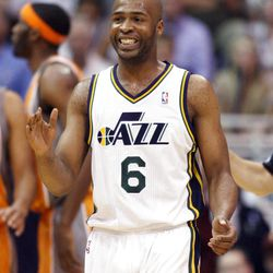 Utah Jazz guard Jamaal Tinsley (6) smiles after a play as the Utah Jazz and the Phoenix Suns play Tuesday, April 24, 2012 in Energy Solutions arena.