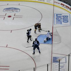Kasimir Kaskisuo attempts to stop a 3-on-0 in the pass and score challenge