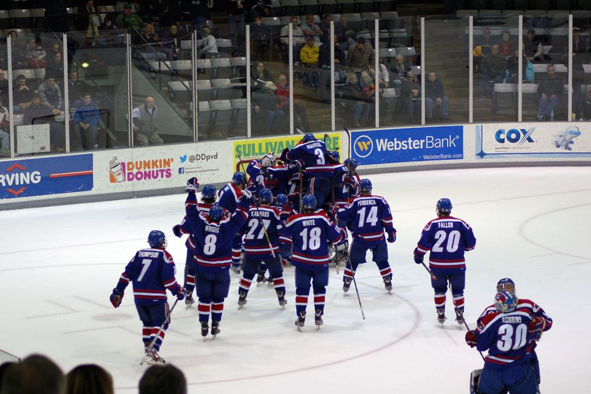 UMass-Lowell celebrated winning the Hockey East Regular Season Championship. The River Hawks will have a chance for a second trophy Saturday night.