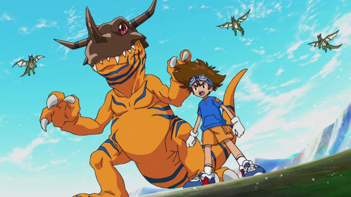 a dinosaur-esque monster stands next to a young boy