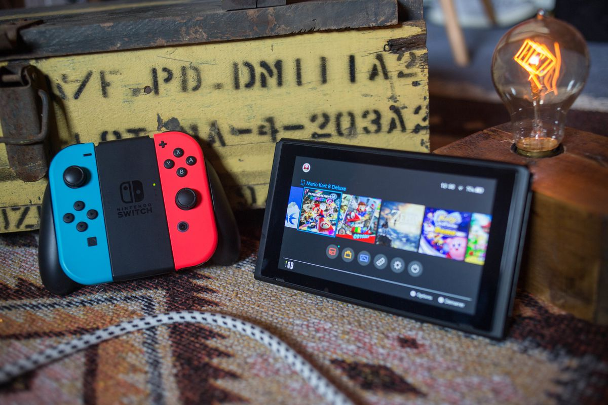 A turned on Nintendo Switch with two Joy-Con