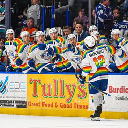 Syracuse Crunch Alex Barré-Boulet (12) celebrates his goal against the Lehigh Valley Phantoms in American Hockey League (AHL) action at the Upstate Medical University Arena in Syracuse, New York on Saturday, February 22, 2020. Syracuse won 2-1.