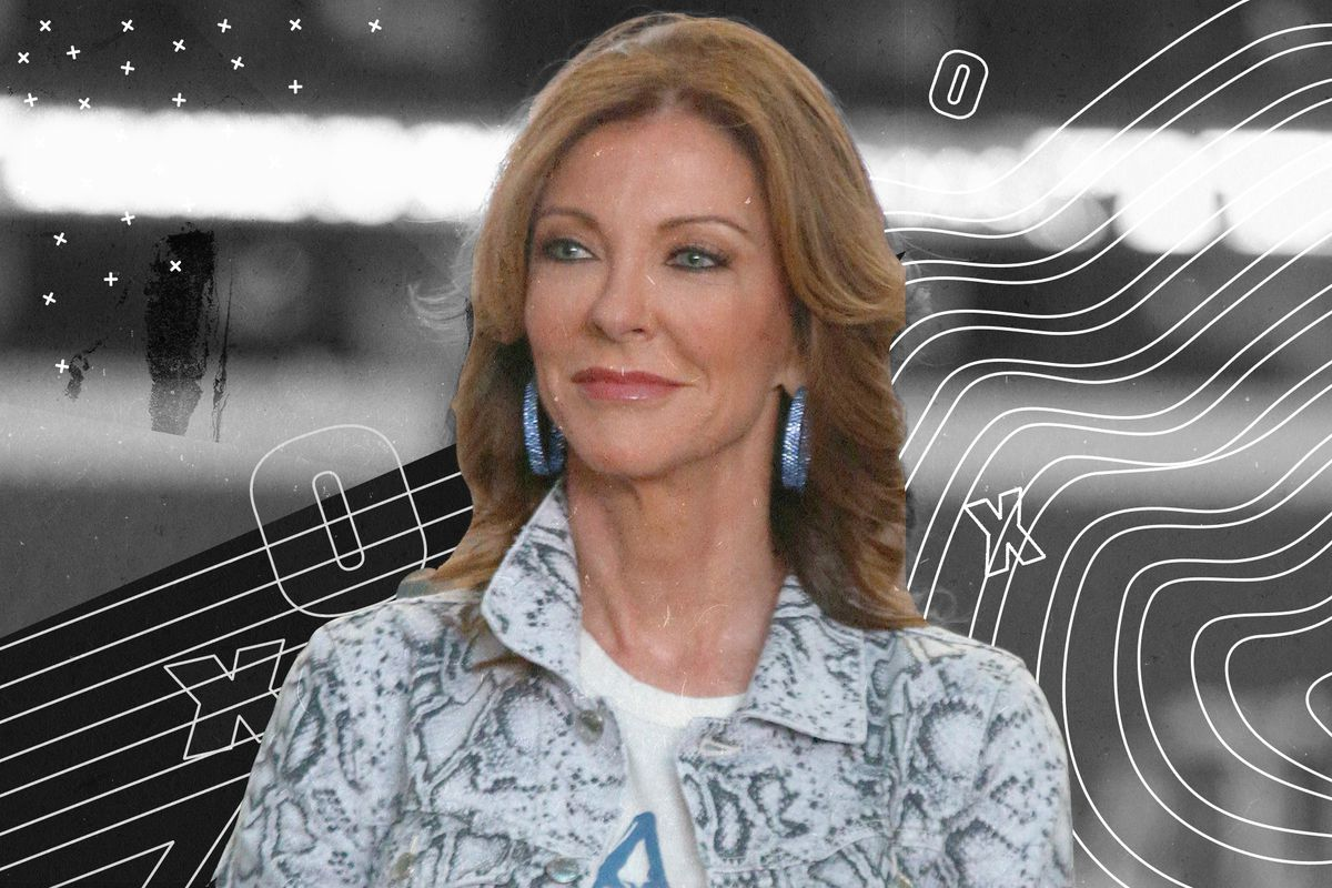 Cowboys VP Charlotte Jones Anderson with a small grin, superimposed on a black and white illustration