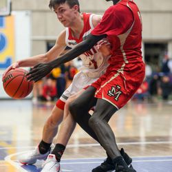 The Manti Templars compete against the Judge Memorial Bulldogs during the 3A boys basketball semifinals at the Lifetime Activities Center in Taylorsville on Friday, Feb. 21, 2020.