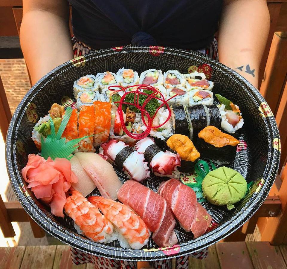 A platter of sushi.