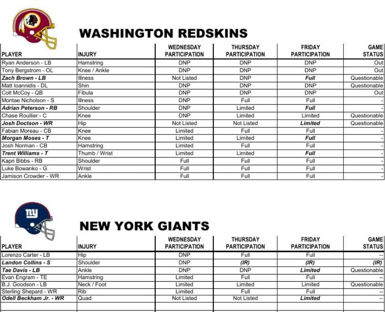 washington redskins vs new york giants schedule tv radio online