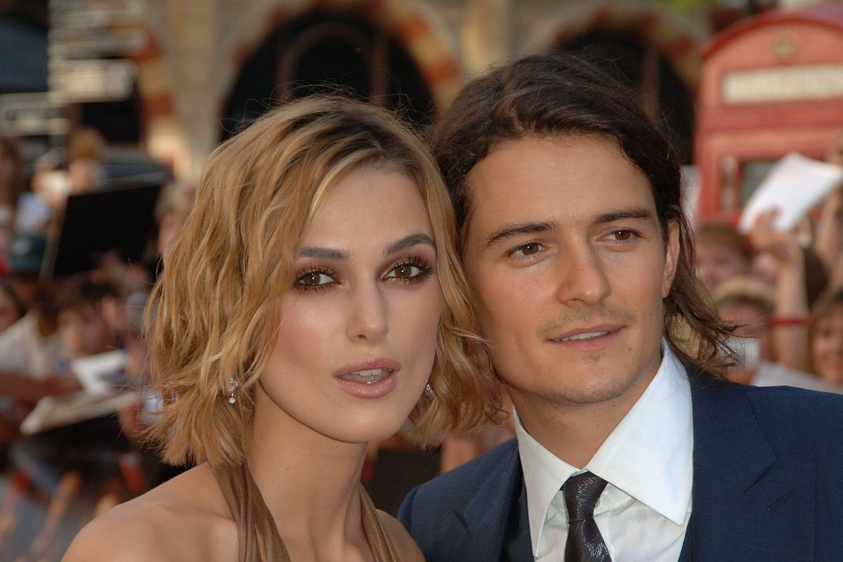 Kiera Knightley and Orlando Bloom at the Pirates of the Caribbean II Premiere