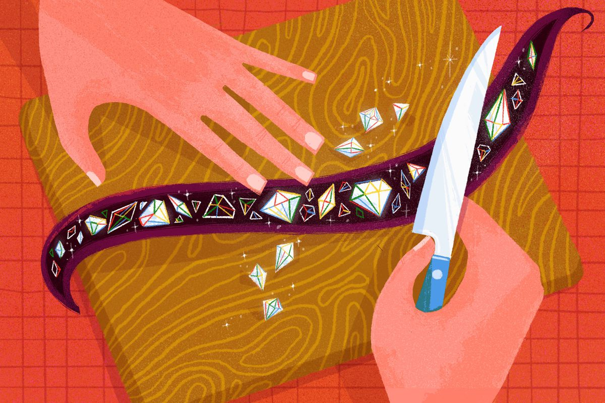 An illustration of a pair of hands holding a knife over a sliced-open vanilla bean full of diamonds and jewels.