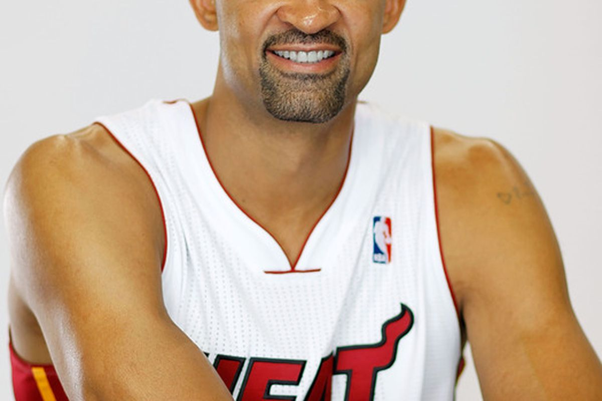 MIAMI, FL - DECEMBER 12: Juwan Howard #5 of the Miami Heat poses during media day at American Airlines Arena on December 12, 2011 in Miami, Florida.  (Photo by Mike Ehrmann/Getty Images)