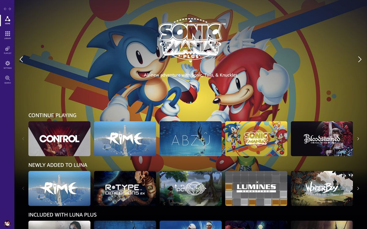 The Luna interface, showing a variety of games with Sonic Mania artwork in the background