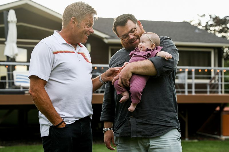 Jeff Montgomery, 57, his son Jarman Montgomery, 37, and Jarman's 4-month-old daughter Quincy pose for a photograph at Jeff's home in Sandy on Tuesday, June 16, 2020.