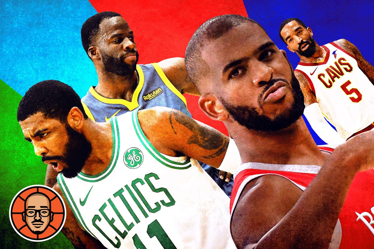 Kyrie Irving, Kevin Durant, Chris Paul, and J.R. Smith