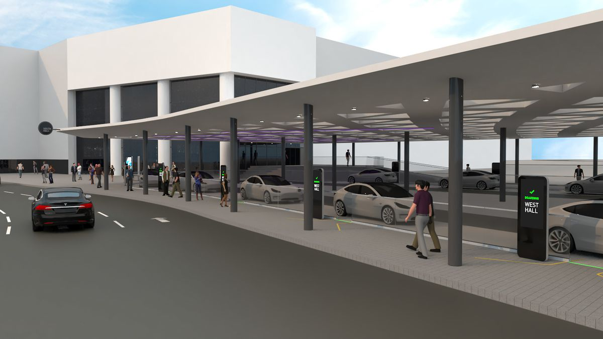 """A rendering of cars lined up outside a larne white building as people while people walk under covered walkways to stations labeled """"West Hall."""""""