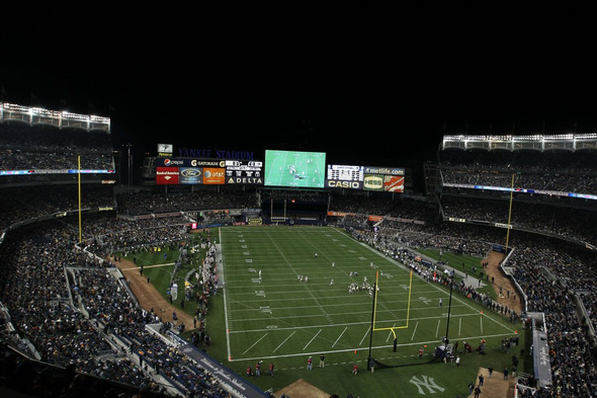 A general view during the game between the Notre Dame Fighting Irish and the Army Black Knights at Yankee Stadium on November 20 2010 in the Bronx borough of New York City.  (Photo by Nick Laham/Getty Images)