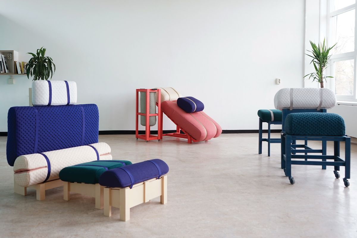 Modular furniture with colorful cushions