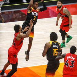 Utah Jazz guard Trent Forrest (3) passes the ball as the Utah Jazz and the Toronto Raptors play an NBA basketball game at Vivint Smart Home Arena in Salt Lake City on Saturday, May 1, 2021.