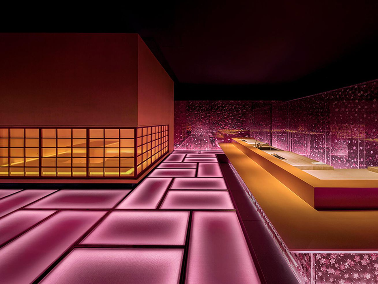 This glowing pink restaurant is an op-art treat