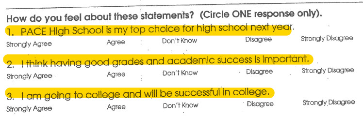 Part of the survey handed out to students at Pace High School's open house