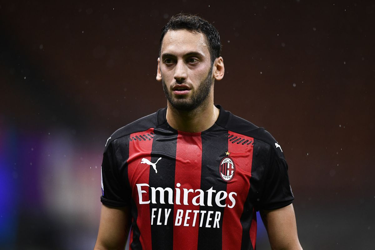 Hakan Calhanoglu of AC Milan looks on during the Serie A...