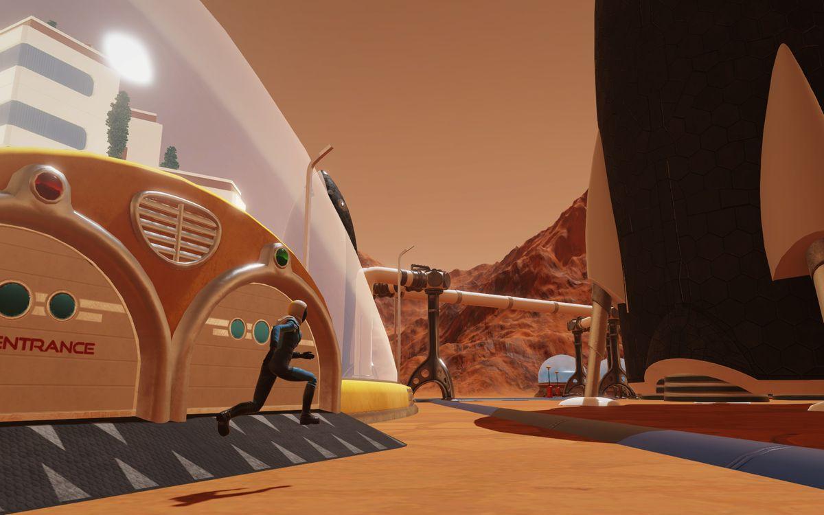 Surviving Mars - running past building entrance