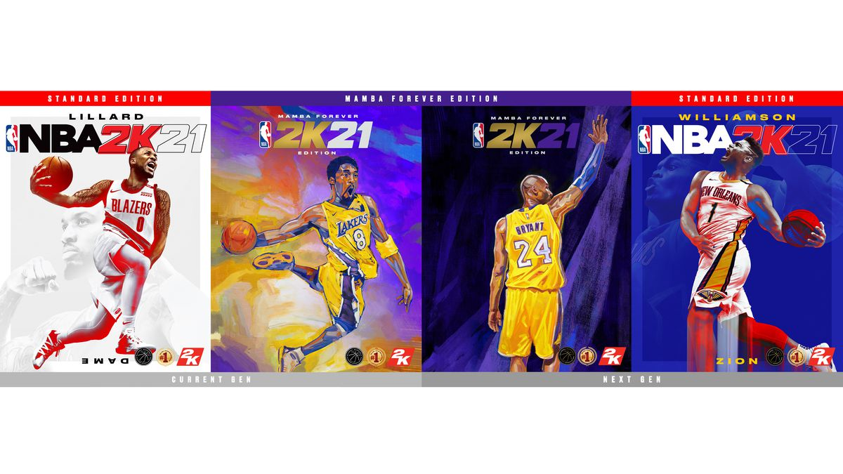 NBA 2K21 covers: Damian Lillard on the current-gen standard edition; Kobe Bryant on the current- and next-gen Mamba Forever Editions; and Zion Williamson on the next-gen standard edition