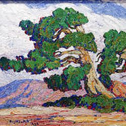 """""""Lone Tree"""" (oil on canvas, 25  1/2 by 35  3/4 inches, 1923) by S. Birger Sandzen (1871-1954) is part of the Taos Masters exhibit."""