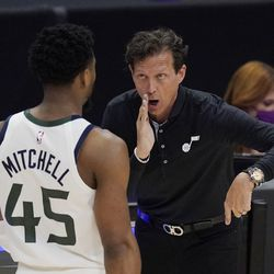 Utah Jazz guard Donovan Mitchell, left, talks with head coach Quin Snyder during the second half in Game 6 of a second-round NBA basketball playoff series against the Los Angeles Clippers Friday, June 18, 2021, in Los Angeles.