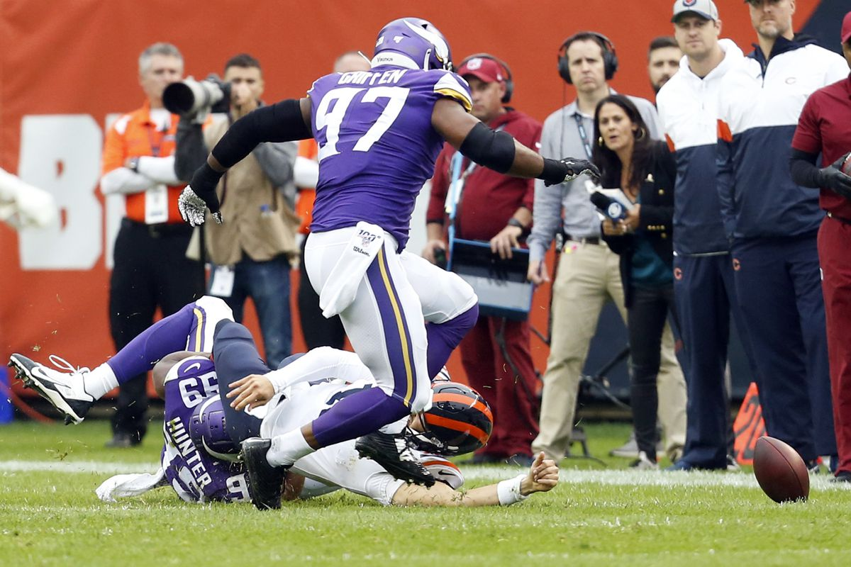 Mitchell Trubisky of the Chicago Bears gets injured on a play during the first quarter against the Minnesota Vikings at Soldier Field on September 29, 2019 in Chicago, Illinois.