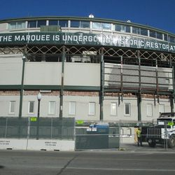 1:10 p.m. Another view of the front of the ballpark -