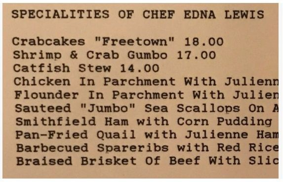 A typewritten list of dishes.