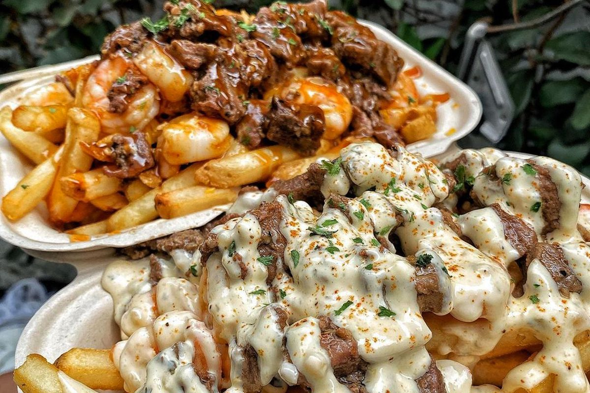 Customized shrimp and steak dishes on the menu at Mr. Fries Man,
