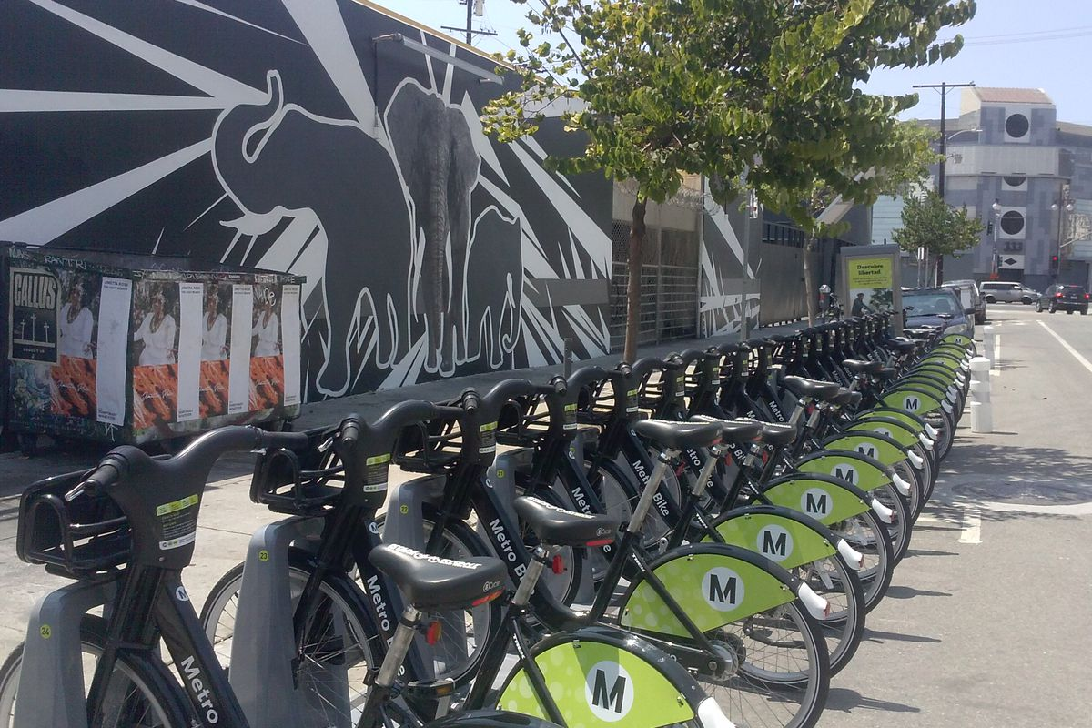 Bike share bikes at a station