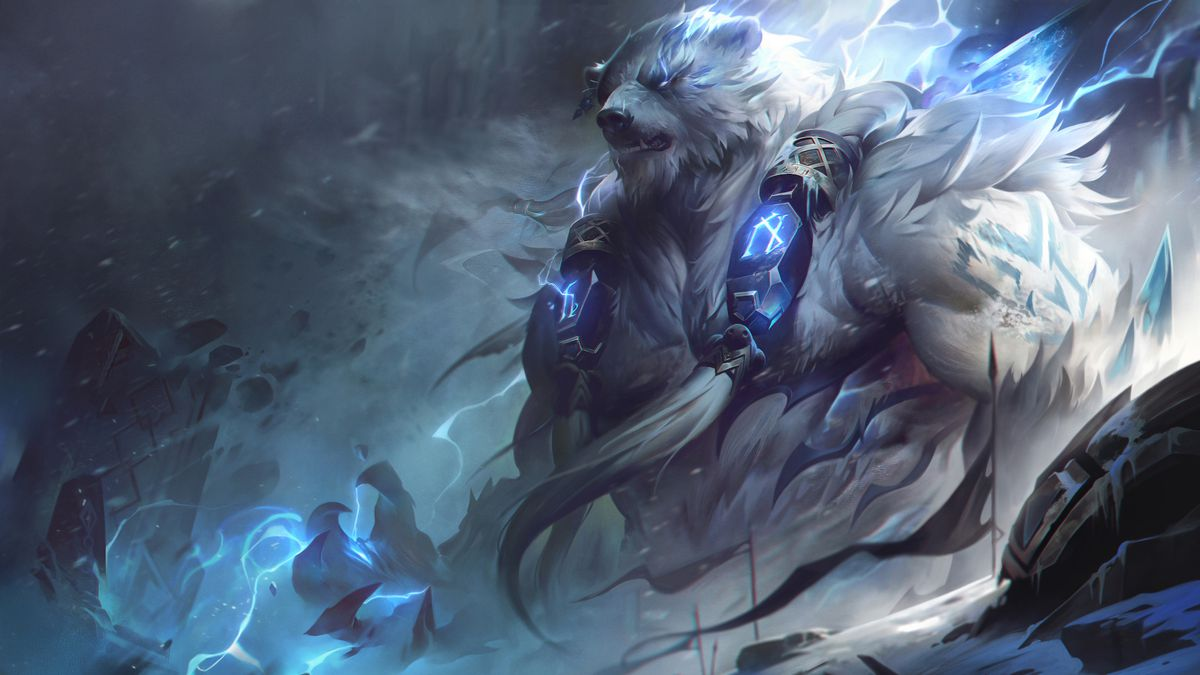 Volibear stands in dark mountains with thunder raging around him
