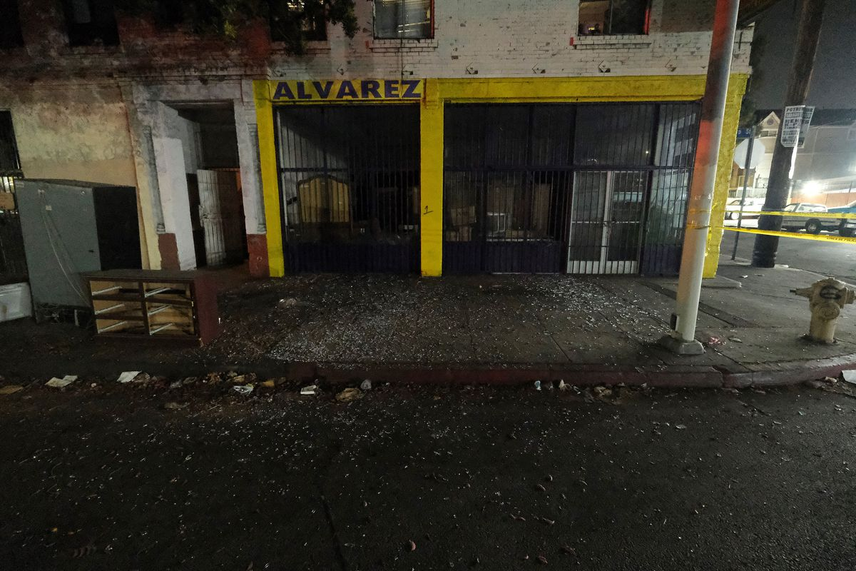 Local business are seen damaged after illegal fireworks seized at a South Los Angeles exploded.