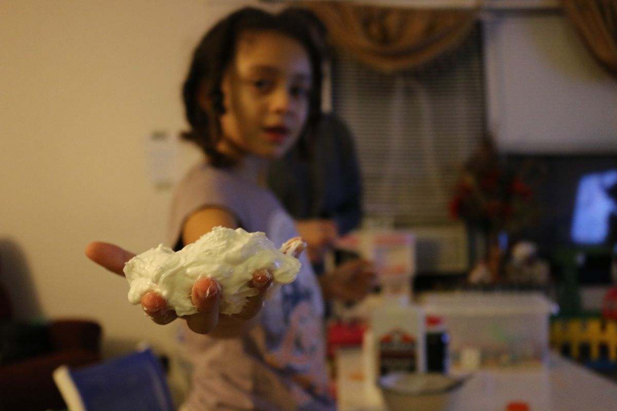 Jazmiah makes slime one afternoon in January.