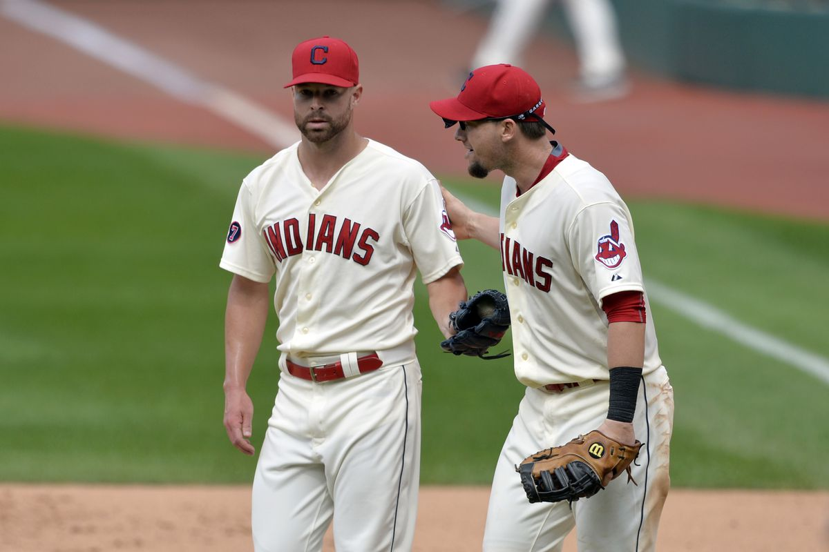 Reunited, and it feels so good ...  (Corey Kluber and Chris Johnson were teammates for two seasons at Stetson University.)