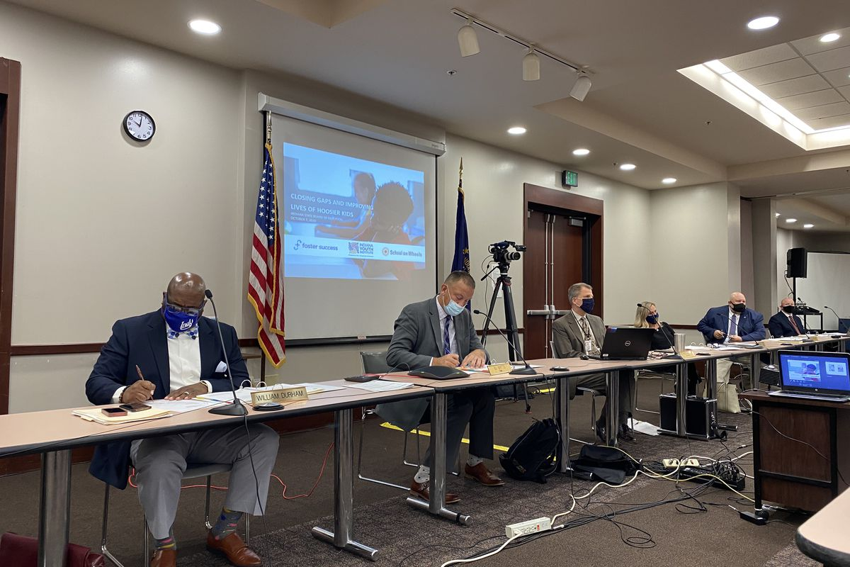 Indiana State Board of Education members meet to discuss A-F grades for schools and other education issues at the monthly board meeting on Oct. 7, 2020.