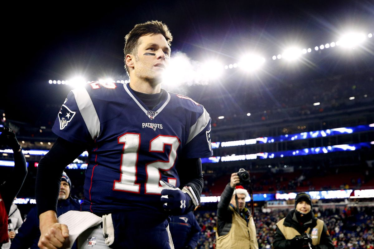 New England Patriots quarterback Tom Brady leaves the field after their win over the Buffalo Bills at Gillette Stadium.