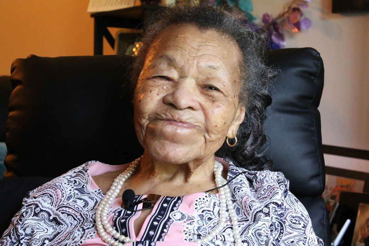 Juanita Mitchell, 107, who moved to Chicago from Louisiana in July of 1919 in the midst of race riots.