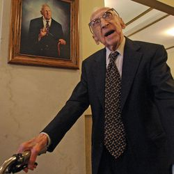 114 year old Walter Breuning  stands under a portrait of himself in the lobby of his senior residence in Great Falls, Mont,  on  Oct. 6, 2010.    Officials at a Montana retirement home say the world's oldest man has died. Walter Breuning was 114, making him the oldest man and the second-oldest person in the world.  Breuning was born on Sept. 21, 1896, in Melrose, Minn., and moved to Montana in 1918.   Breuning lived at the Rainbow Senior Living retirement home in Great Falls.   Retirement home spokeswoman Stacia Kirby confirmed that Breuning died Thursday, April 14, 2011 of natural causes in a Great Falls hospital.