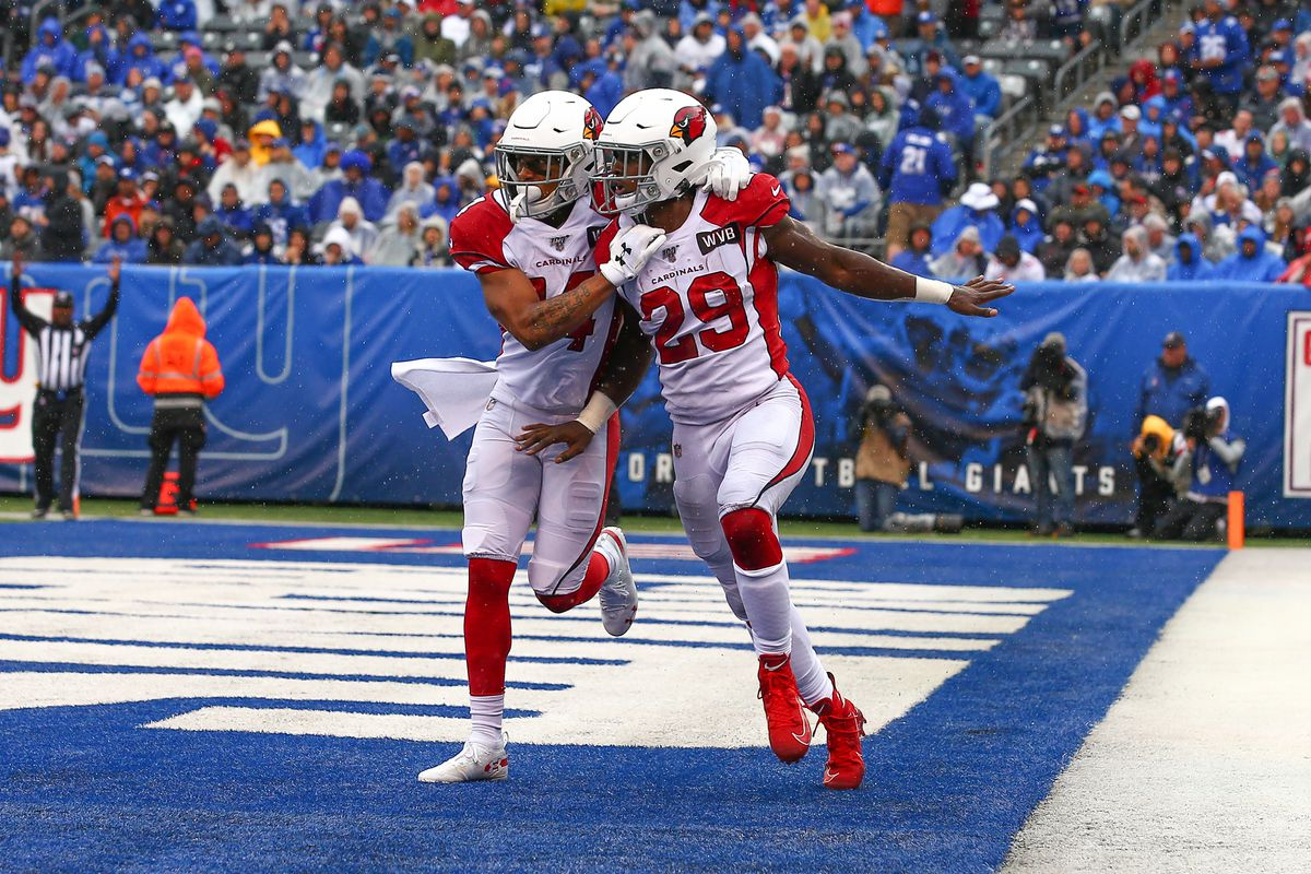 Arizona Cardinals running back Chase Edmonds celebrates after he scores a touchdown during the National Football League game between the New York Giants and the Arizona Cardinals on October 20, 2019 at MetLife Stadium in East Rutherford, NJ.
